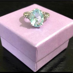 Size 8 925 Stamped SS & Aquamarine Ring NWT
